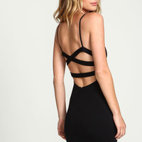 BLACK ALL WRAPPED UP BODYCON DRESS
