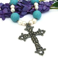Italian Pewter Cross Necklace Handmade Turquoise Magnesite Pearls OOAK