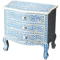 Blue & White Bone 3-Drawer Dresser