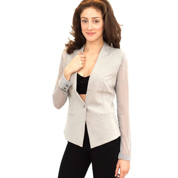 Easy on Me Sheer Sleeve Blazer (Final Sale)