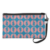 Seahorse Pattern in Melon and Dark Teal Wristlet