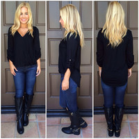 At Last Jersey Wrap Top - Black