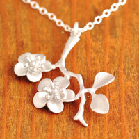 Cherry Blossom Necklace - branch necklace, sterling silver, silver flower necklace, cherry blossom pendant