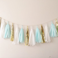 Mint Blue and Gold Tassel Garland on Gold Rope