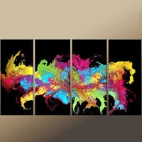 4pc Abstract Canvas Art Painting  72x36 Contemporary by wostudios
