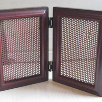 Jewelry Organizer from a double hinged solid wood burgundy frame to display your earrings or photos