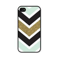 Glitter iPhone 5 Case - Glitter iPhone 5s Case - Glitter iPhone 5c Case - Chevron iPhone 5 Case - Mint Green Gold iPhone 5 Case - Phone Case