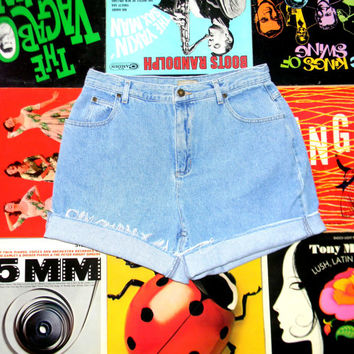 Vintage Denim Cut Offs - 90s High Waisted Distressed, LIGHT WASH Jean Shorts - Cut Off, Frayed, Rolled Up, Cuffed - Misses Size 14