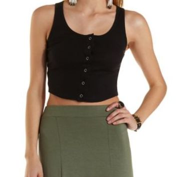 Snapped & Ribbed Cropped Tank Top by Charlotte Russe