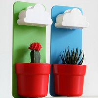 Singeek(TM) Newwest Wall Mount Rainy Pot Flower Pot With Cloud-Shaped Water Filter-Indoor Hanging Flower Planter-Pouring Shower Water like Raindrops (2, Blue+Green)
