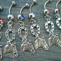 choose a lucky horse belly ring horse horseshoe equestrian cowboy cowgirl country western fantasy boho gyps beach and hipster style