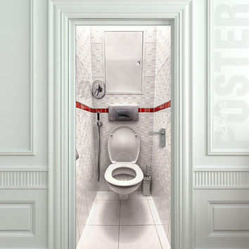Door STICKER WC water closet toilet bathroom mural decole film self-adhesive poster 30x79inch(77x200 cm)