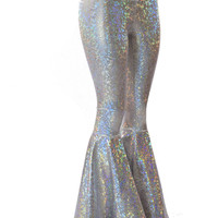 Silver on White Shattered Glass Holographic Bell Bottom Flare Pants