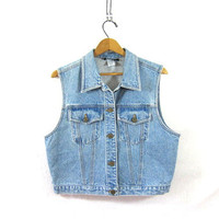 80s blue jean vest. sleeveless jean jacket. light wash denim vest. women's size XL