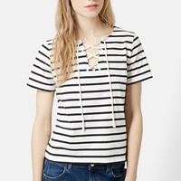 Women's Topshop Lace-Up Nautical Top,
