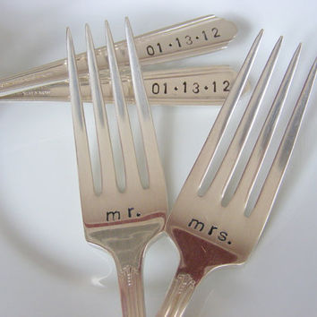 Hand Stamped Wedding Silverware Dinner Forks by BabyPuppyDesigns