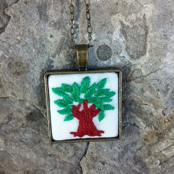 Tree of Life Embroidered Necklace, Long Necklace, Bohemian Jewelry, Boho Necklace, Hippie Jewelry
