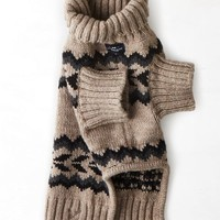 AEO Women's American Beagle Outfitters Patterned Sweater Poncho (Holiday Heather Brown)