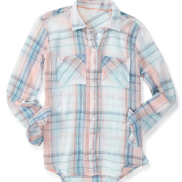 Sheer Long Sleeve Gauze Plaid Woven Shirt