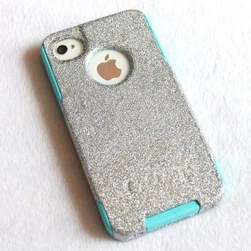 Hand Glued Glitter iPhone 4 Case Sparkle iPhone 4 Case Bling iPhone 4s Case - Silver on Blue