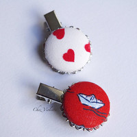 Girl hair clips, red hear and boat hair pin set, red white button hair clips, kawaii hairstyles