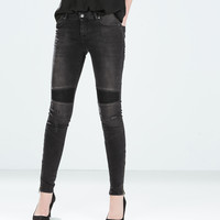 Topstitched moto jeans
