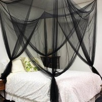 TMS® 4 (Four) Corner Post Bed Black Canopy Mosquito Net Full Queen King Size Netting
