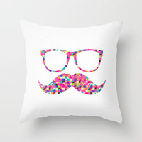 Funny Girly Pink Abstract Mustache Hipster Glasses Throw Pillow by Railton Road | Society6