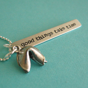 Fortune Cookie Necklace  Personalized fortune  by SpiffingJewelry