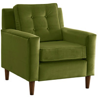 Winston Velvet Accent Chair, Apple Green, Club Chairs