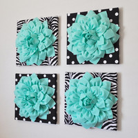 """Wall Decor -SET OF FOUR Mint Dahlias on Black and White Prints 12 x12"""" Canvases Wall Art-"""