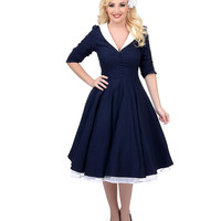 Unique Vintage Navy & Ivory Three-Quarter Sleeve Eva Marie Stretch Swing Dress