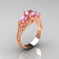 Classic 14K Rose Gold Three Stone Diamond Light Pink by artmasters