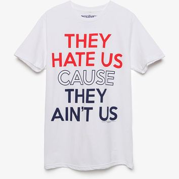 NEW WORLD They Hate Us T-Shirt - Mens Tee - White