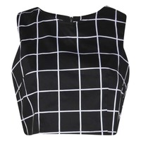 Millie Mono Grid Check Woven Crop Top