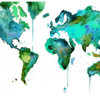 Watercolor World Map No 6 18 x 24 print by JessicaIllustration