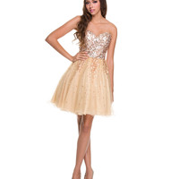 Gold Sequin & Tulle Short Prom Dress Homecoming 2014