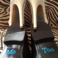 I Do and Me Too Shoe Stickers Clear / Blue Rhinestone Wedding Shoe Appliques - Rhinestone Shoe Decals for your Bridal Shoes Something Blue