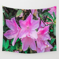 Pink Flowers in the Sun Wall Tapestry by Gwendalyn Abrams