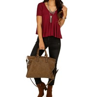 Burgundy Movement Of Life Top