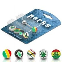 "Body Accentz™ 14G 5/8"" Barbell Bonus Package with Interchangeable Assorted Tops Tongue Ring - Rasta Pot Leaf Balls Marijuana"