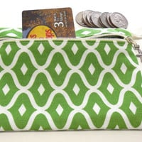 Makeup Organizer ,Lime Green with White Diamonds motif purse organizer, Beauty supply organizer,Cosmetic or Makeup storage pouch, Coin Purse