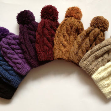 Cable Knit Beanie with Pom Pom CHOOSE TWO Hand Knit Chunky Warm Hat