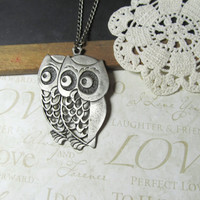 WOOT a pair vintage owl long layer necklace silver by brideblu