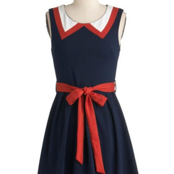 Sleeveless A-line Red, White, and Cute Dress