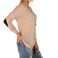 Sale-taupe Elbow Patch Top