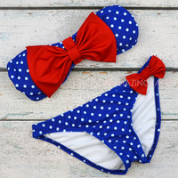 Mary Market Royal Blue Polka Dot Bow Top Bandeau Bikini