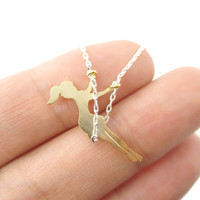 Girl Swinging on a Swing Acrobat Charm Necklace in Silver and Gold   DOTOLY