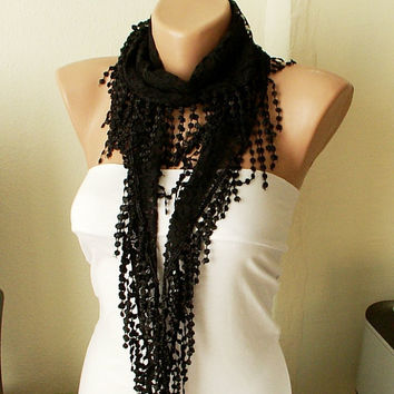 Coal black Tulle Scarf with orange Lace by Periay on Etsy