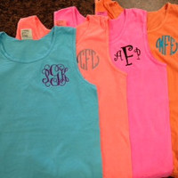 Comfort Color Monogram Tank Tops Great for by BlueSuedeStitches